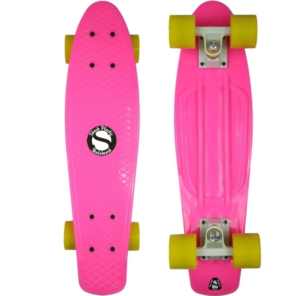 Plastový skateboard shock pink white yellow - shockboardshop.cz a6e13707de