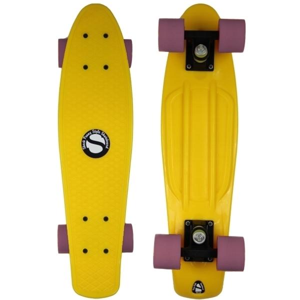 Plastový skateboard shock yellow white pink - shockboardshop.cz 8591436687